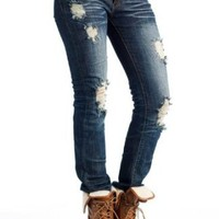 Amazon.com: two tone stitch destroyed jeans 9 DARK: Clothing
