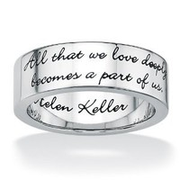 Amazon.com: PalmBeach Jewelry Stainless Steel Inspirational Helen Keller Message Band: Jewelry