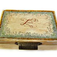 Large Handpainted Wooden Box/ Anniversary/Wedding/Jewelry