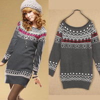 New Korea Women Long Sleeve Sweater Jumper Knitwear Tops Mini Dress K193