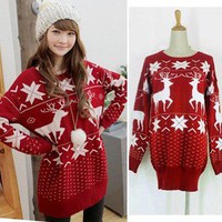 Korea Women Long Sleeve Knitted Sweater Jumper Knitwear Tops Winter Red K277