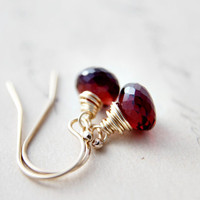 Garnet Earrings Gemstone Jewelry Gold Crimson January Dangle Oxblood PoleStar