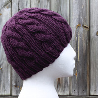 Purple Knit Beanie - Cable Beanie Hat - Plum Purple - Acrylic Yarn