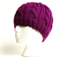 Cable Knit Beanie - Passionfruit Purple - Acrylic Yarn