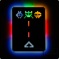 Illuminated Space Invaders Wall Light - Blue, Red, Green - Gamer Geek Decor