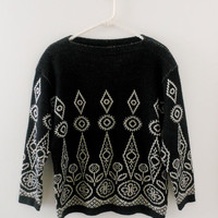 vintage black & white sweater // geometric sweater