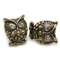 Vintage cute crystal eye bronze owl stud earrings jewelry retro diamante: Jewelry: Amazon.com