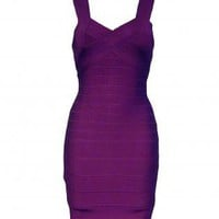 Purple Criss Cross Bodycon Bandage Dress