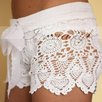 Crochet beach shorts in cotton Custom made to order, Lace Shorts, crochet handmade, crochet shorts   Kate Hudson