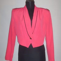 Vintage 1980s Hot Pink Cropped Blazer Tuxedo Military Style