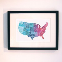 American Gastronomy map red and blue