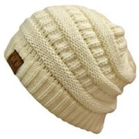 Amazon.com: Winter White Ivory Thick Slouchy Knit Oversized Beanie Cap Hat: Clothing