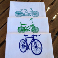 Bike Flour Sack Tea Towels - Set of Three - Sting Ray, Fixie, and Tandem Bikes