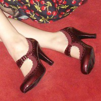Burgundy Red 8.5 Shiny Rockabilly Pinup Mary Jane Classic Christmas Wingtip Heel