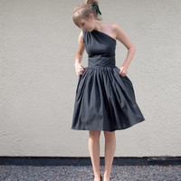 Black Cotton Asymmetric Dress Ready to Wear by makemeadress