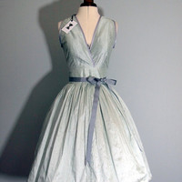 Mint Silk Taffeta Cocktail Dress READY TO SHIP by makemeadress