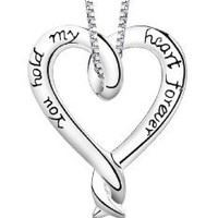 "Amazon.com: Sterling Silver ""You Hold My Heart For ever"" Heart Pendant Necklace, 18"": Jewelry"