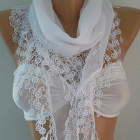 Super elegant scarf  Cotton scarf.....It made with good quality cotton fabric...White