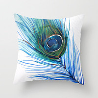 Peacock Feather I Throw Pillow by Mai Autumn  | Society6