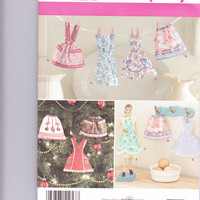 New Simplicity Pattern Craft Barbie size vintage style apron ornaments seven styles uncut