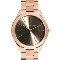 Michael Kors Boyfriend Rose Gold Bracelet Watch at asos.com