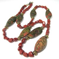 Chunky olive unakite red rust jasper gemstone long necklace 25 inch