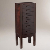 Dark Mahogany Chase Jewelry Armoire with Charging Station