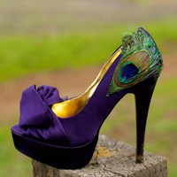Purple Satin Peacock Pumps  Size 85 by LaPlumeEthere on Etsy