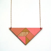 Tangram necklace / triangle / neon warms