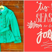 A Holiday Story: From ourchoix.com, this Emerald Ruffle Jacket makes the season jolly!