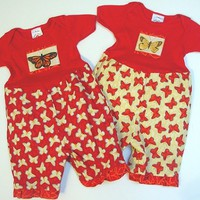 Twin Matching Set Baby Girl Rompers Red/Yellow by BerryPatchUSA