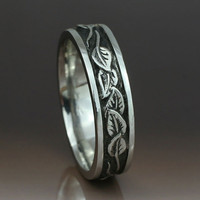 CIRCLING LEAVES Wedding Band.  6mm width.  This ring in sterling silver.