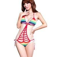 Amazon.com: LOCOMO Sexy One Piece Knit Crochet Bathing Suit Swim Wear Bikini Monokini Exotic FFS004 One Size Rainbow Color: Clothing