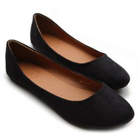 Ollio Womens Ballet Flats Loafers Comfort Light Faux Suede Low Heels Black Shoes