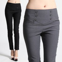 MOGAN S~3X HIGH WAIST DRESS PANTS Chic Button Yoke Ankle Slim Skinny Fit Trouser