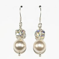 Swarovski Earrings, Ivory Pearls, Bridesmaid gift, Wedding Jewellery - by craftimade on madeit