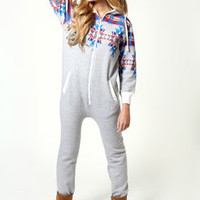 Kate Aztec Print Hooded Onesuit