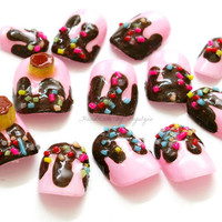Kawaii nails, fairy kei, 3D nails, deco nails, lolita, pudding, flan, dripping, chocolate, fake sweets, Japanese nail art