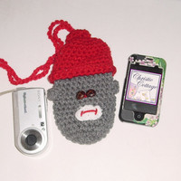 Red Hat Sock Monkey Cell Phone Pouch With Strap