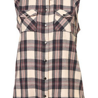 Sleeveless Tab Check Shirt - Tops  - Clothing