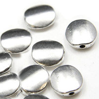 QTY4 Silver Oval Beads Spacers Sleek Modern Style Lot of 4 10mm Last Ones