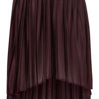 Oxblood Pleated Dip Hem Skirt - Skirts  - Clothing