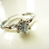 Plain Brilliant Round CZ Silver Ring R04