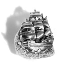 Sterling Silver Sailing Ship Ring by MetalCoutureJewelry on Etsy