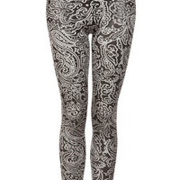 Shimmer Paisley Velvet Leggings - Pants & Leggings  - Clothing