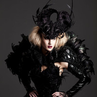 Black feather, PVC, embroidered cape, cyber, gothic, dark fashion.