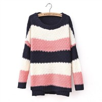 Winter Woolen Loose Bat Sleeves Striped Sweater 2 Colors