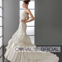 WD12059 strapless mermaid bubble wedding dress coralsbridal