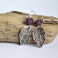 Mint Leaf Earrings.Dainty Purple Botanical Jewelry. Mint Green Bead. Hanging Leaf Earrings. Nature Inspired Leaf Earrings.