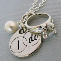 Brides Charm Necklace With Engraved I DO by pinkingedgedesigns
